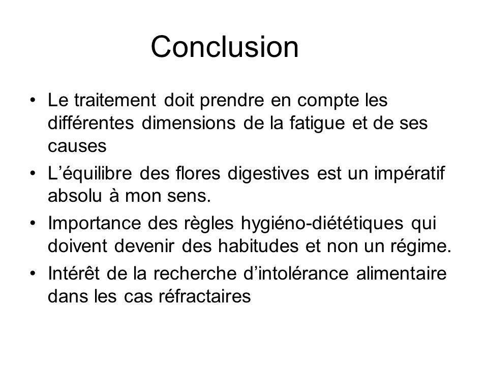 Conclusion Le traitement doit prendre en compte les différentes dimensions de la fatigue et de ses causes.