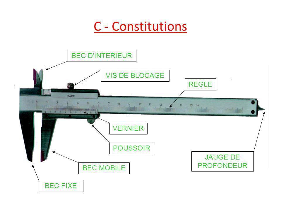 C - Constitutions BEC D'INTERIEUR VIS DE BLOCAGE REGLE VERNIER