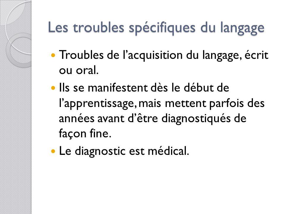 Les troubles spécifiques du langage