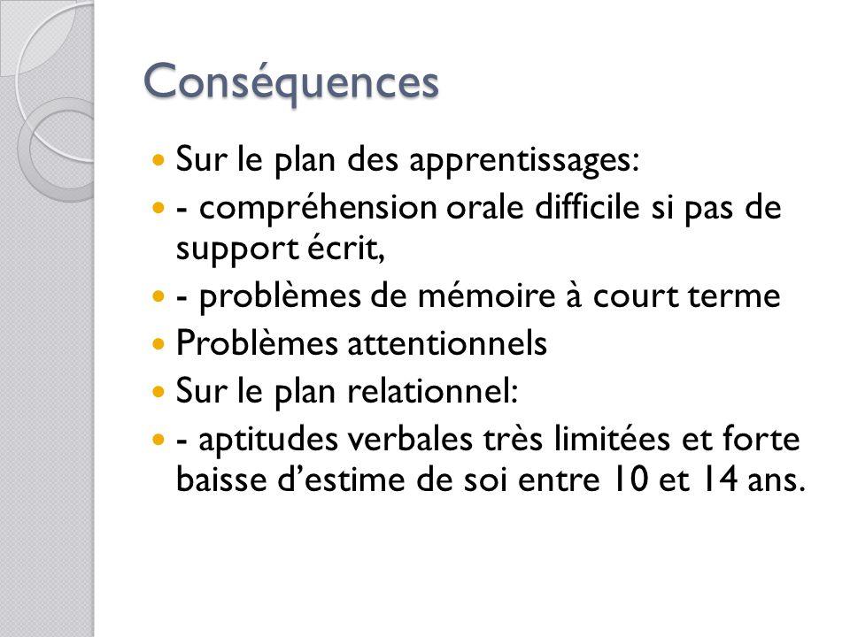 Conséquences Sur le plan des apprentissages: