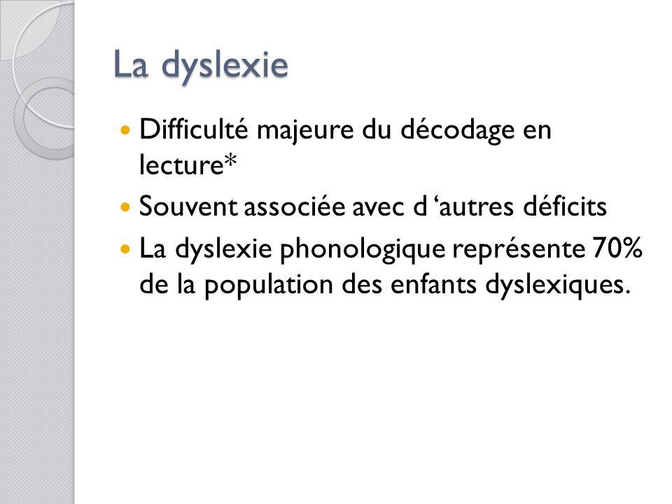La dyslexie Difficulté majeure du décodage en lecture*