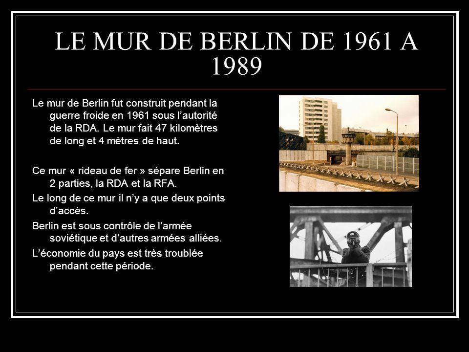 LE MUR DE BERLIN DE 1961 A 1989