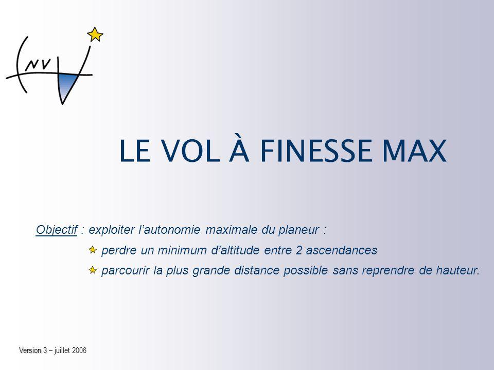 LE VOL À FINESSE MAX Objectif :