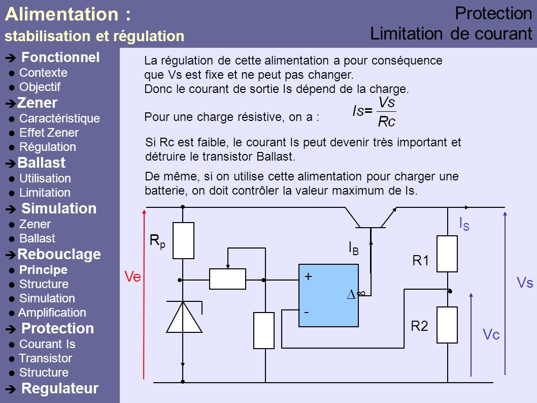 Alimentation : Protection Limitation de courant