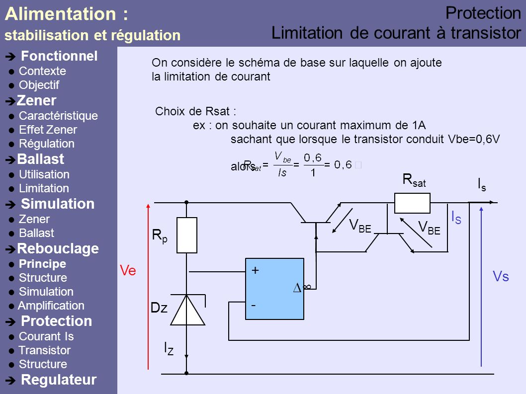 Alimentation : Protection Limitation de courant à transistor