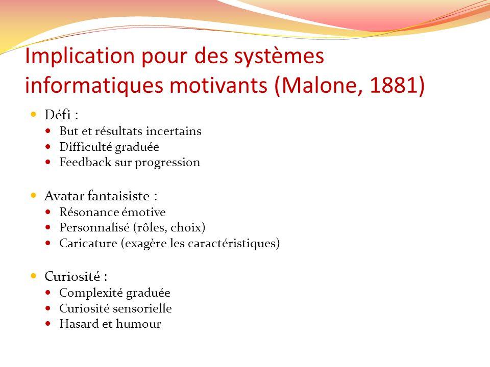 Implication pour des systèmes informatiques motivants (Malone, 1881)