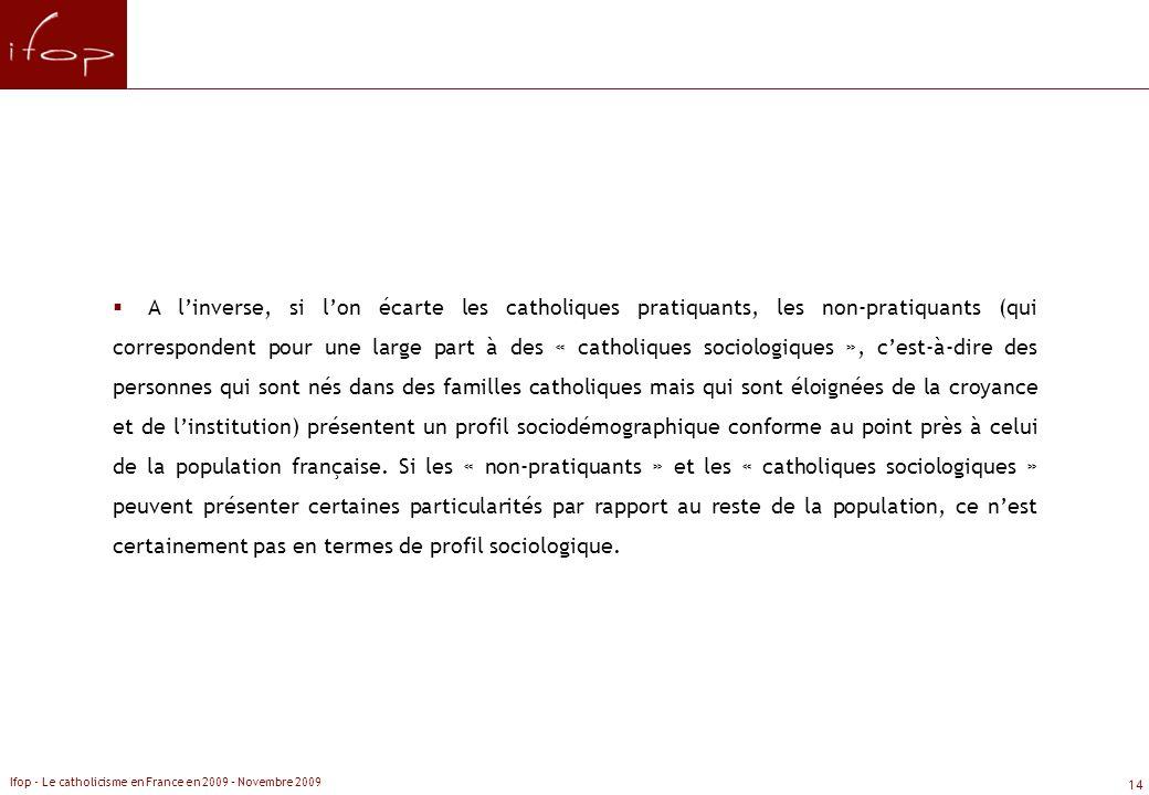 A l'inverse, si l'on écarte les catholiques pratiquants, les non-pratiquants (qui correspondent pour une large part à des « catholiques sociologiques », c'est-à-dire des personnes qui sont nés dans des familles catholiques mais qui sont éloignées de la croyance et de l'institution) présentent un profil sociodémographique conforme au point près à celui de la population française. Si les « non-pratiquants » et les « catholiques sociologiques » peuvent présenter certaines particularités par rapport au reste de la population, ce n'est certainement pas en termes de profil sociologique.