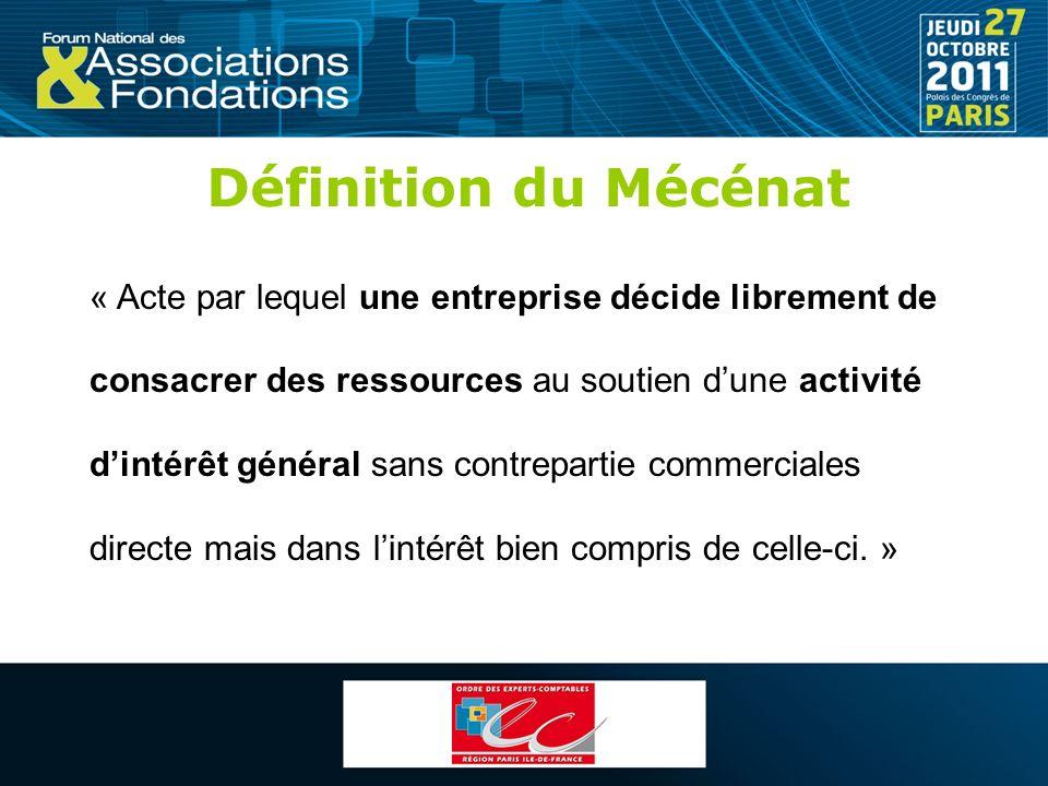 Définition du Mécénat « Acte par lequel une entreprise décide librement de. consacrer des ressources au soutien d'une activité.