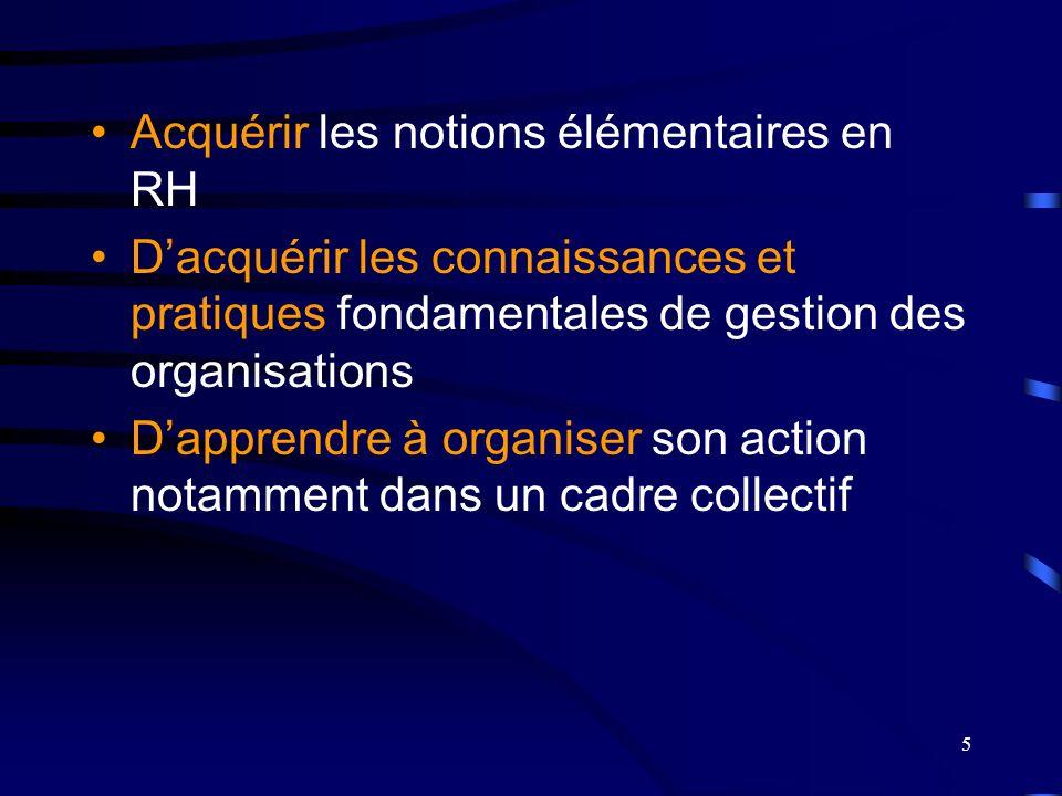 Acquérir les notions élémentaires en RH