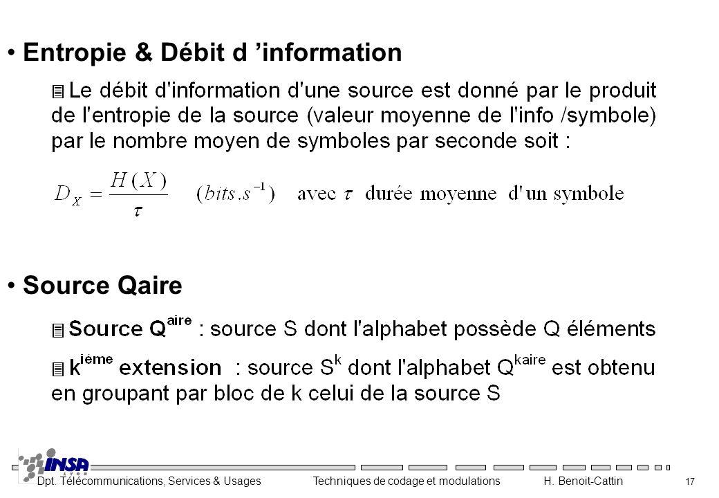 Entropie & Débit d 'information