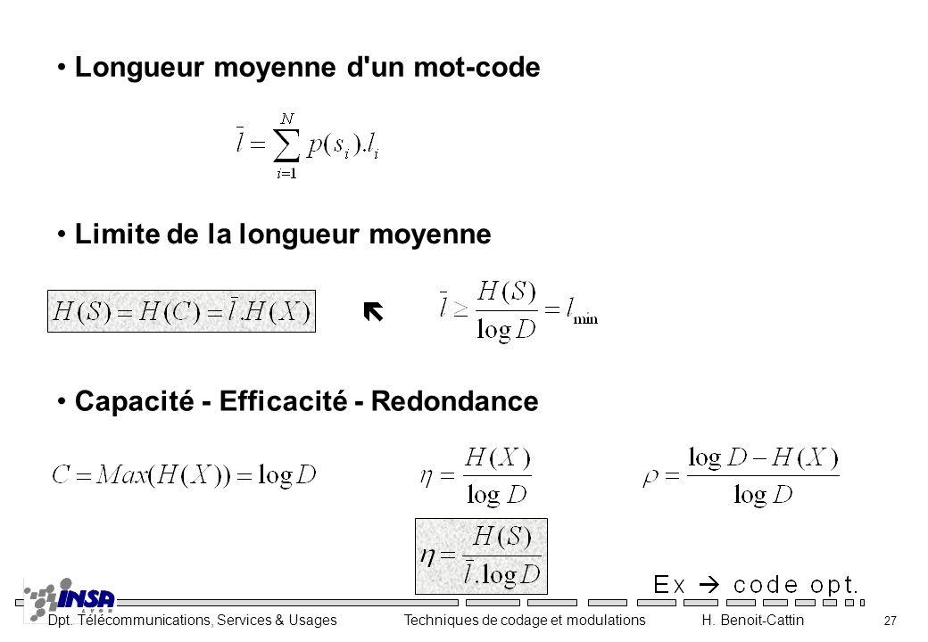 Longueur moyenne d un mot-code