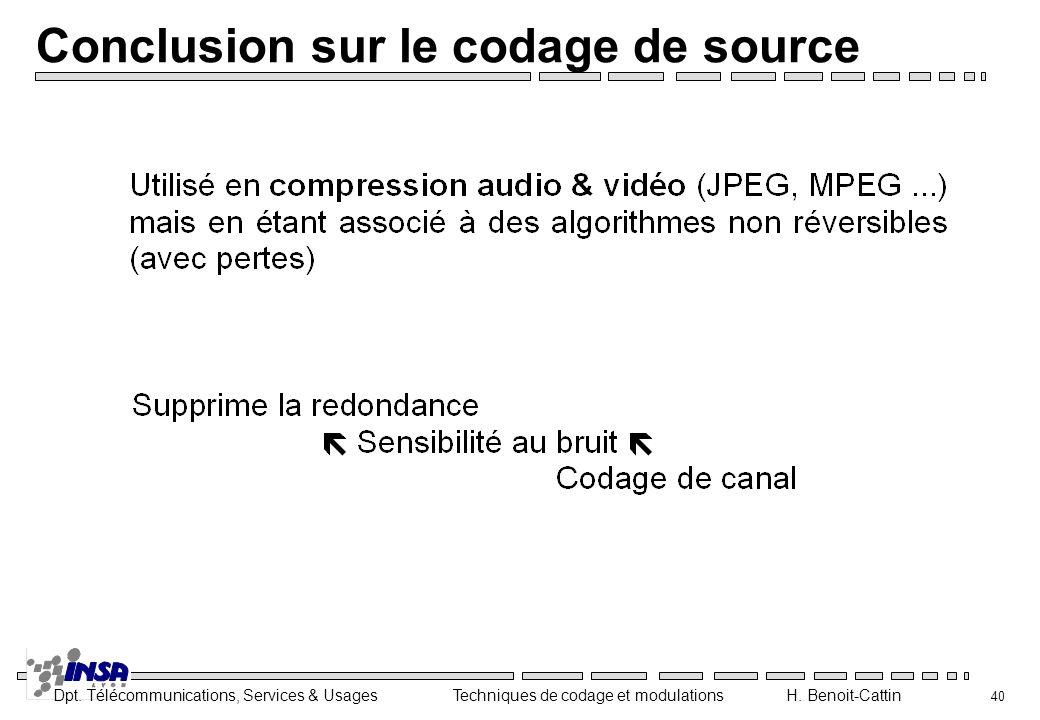 Conclusion sur le codage de source