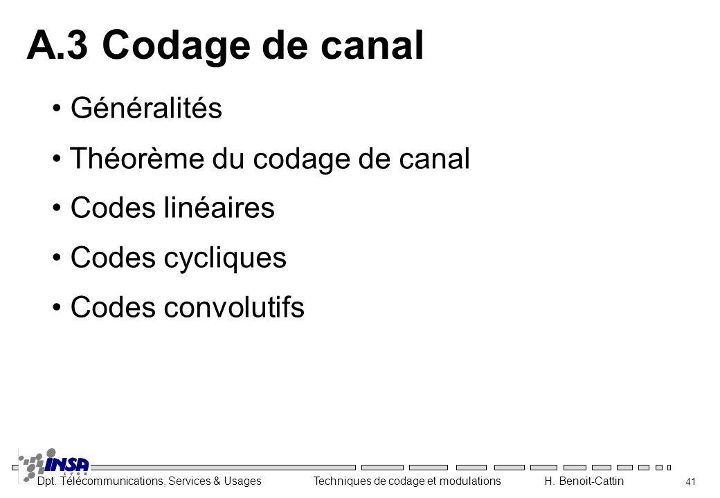A.3 Codage de canal Généralités Théorème du codage de canal