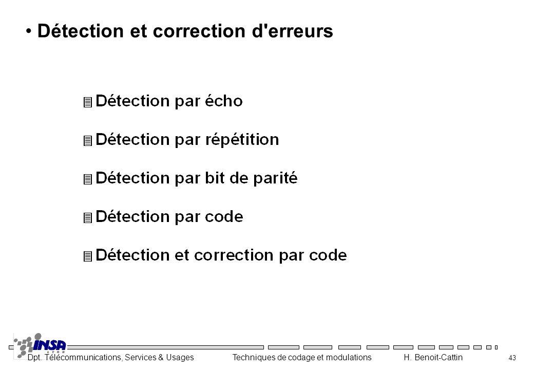Détection et correction d erreurs