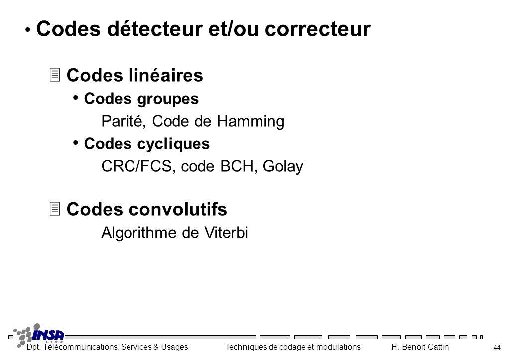 Codes détecteur et/ou correcteur