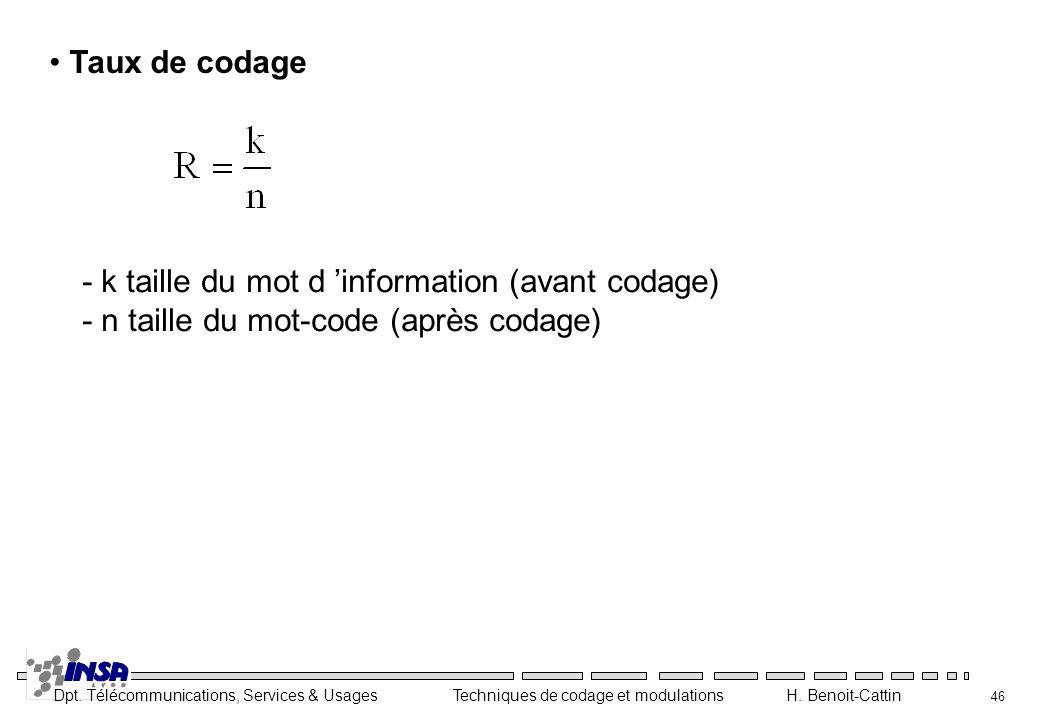 Taux de codage - k taille du mot d 'information (avant codage) - n taille du mot-code (après codage)