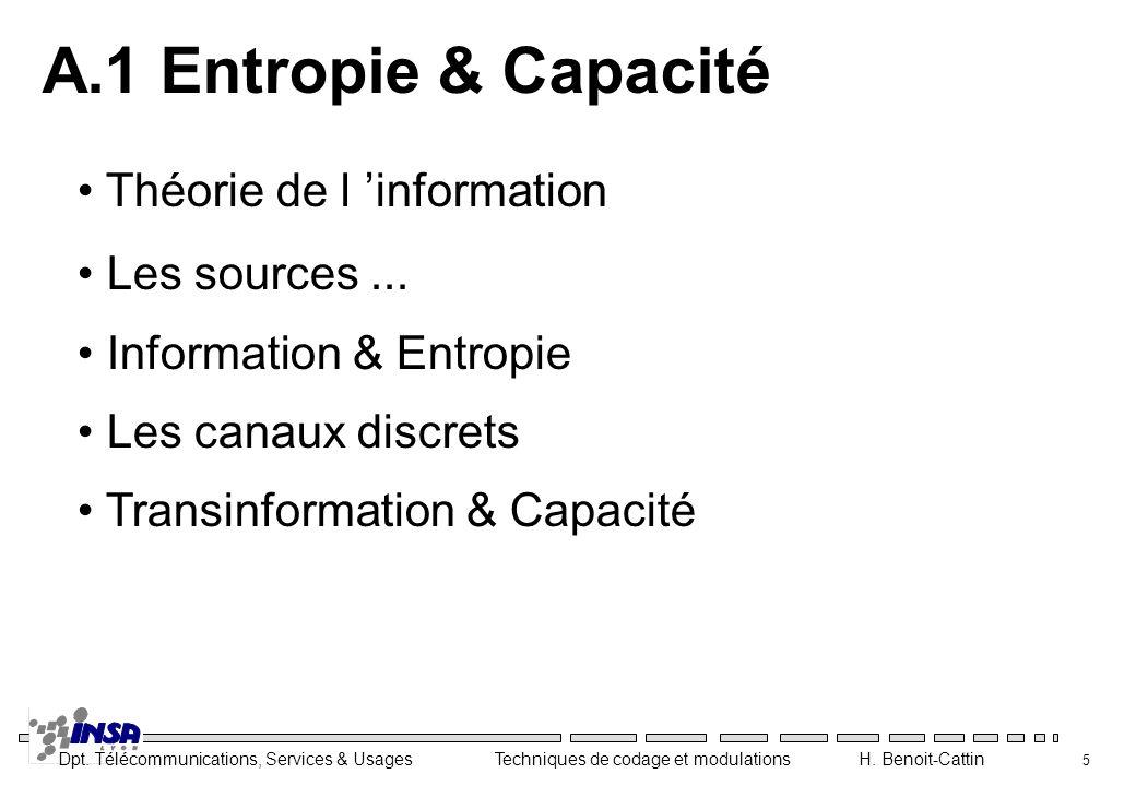 A.1 Entropie & Capacité Théorie de l 'information Les sources ...