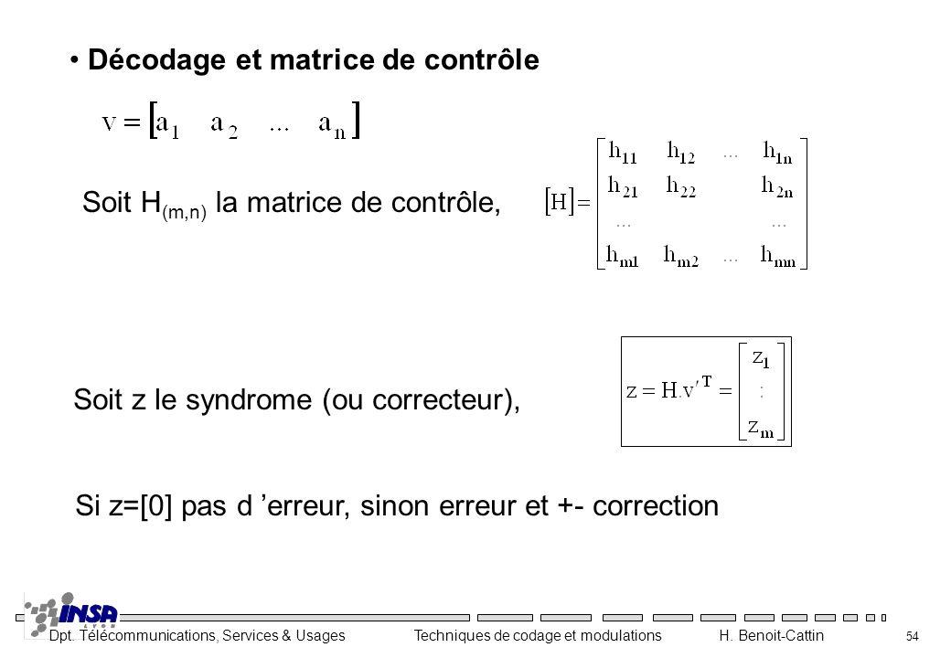 Décodage et matrice de contrôle