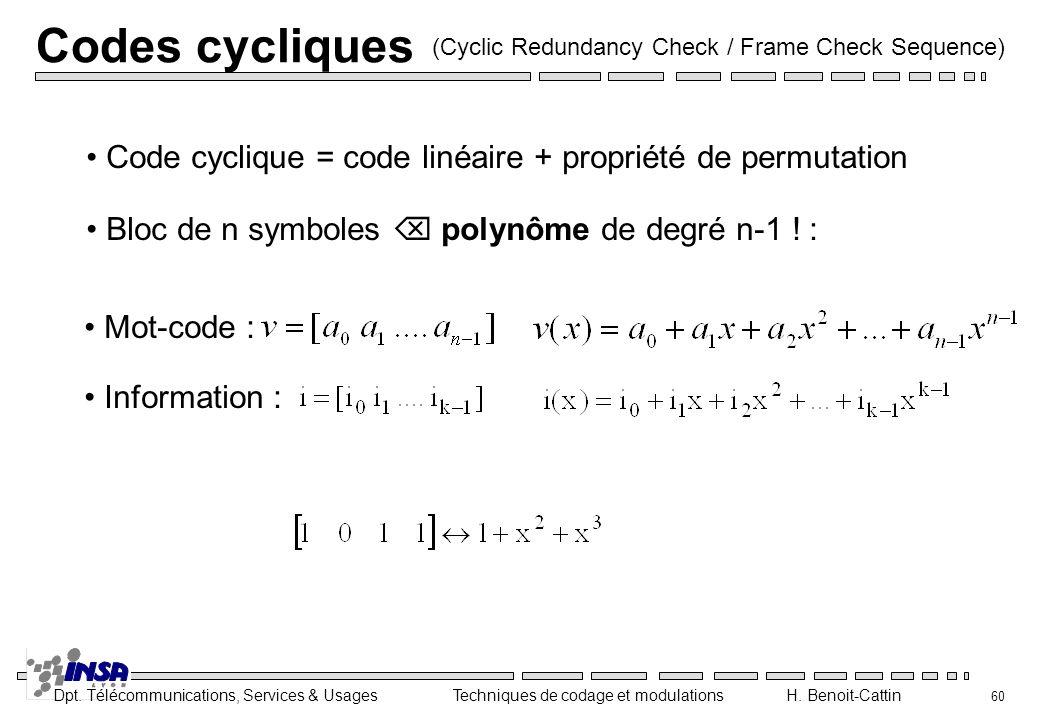 Codes cycliques (Cyclic Redundancy Check / Frame Check Sequence) Code cyclique = code linéaire + propriété de permutation.