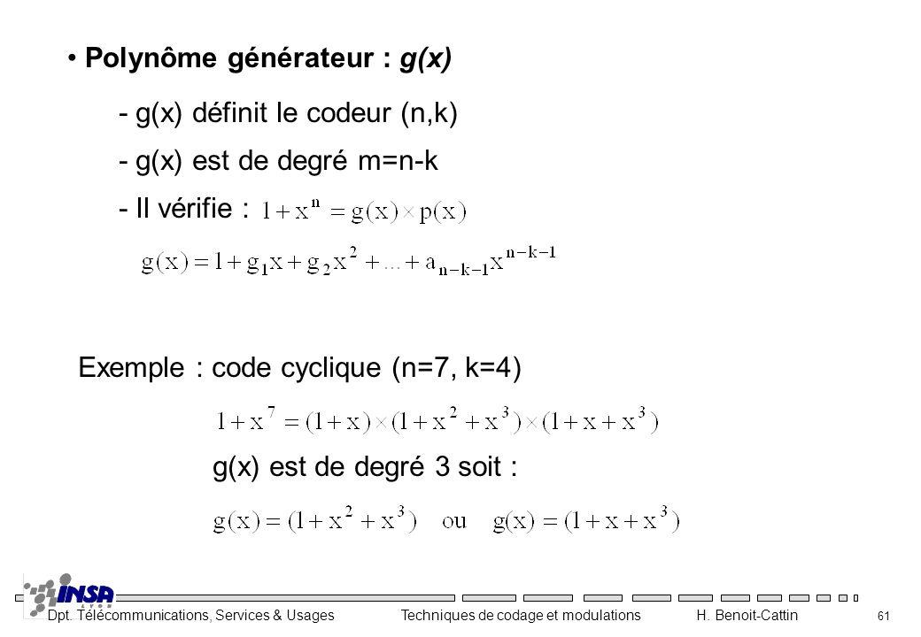 Polynôme générateur : g(x)