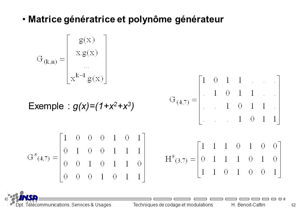 Matrice génératrice et polynôme générateur