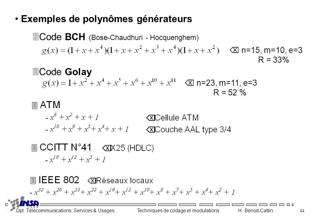 Exemples de polynômes générateurs
