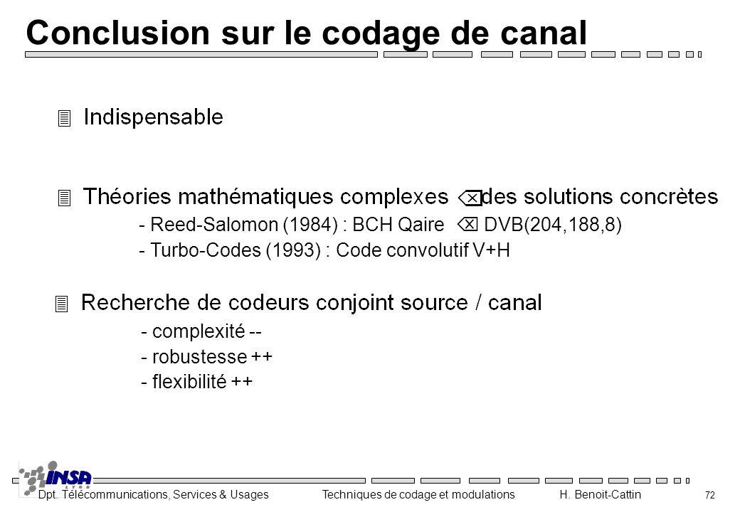 Conclusion sur le codage de canal