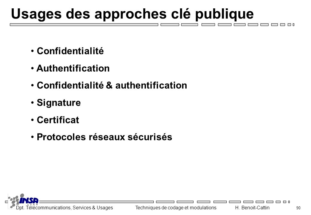 Usages des approches clé publique