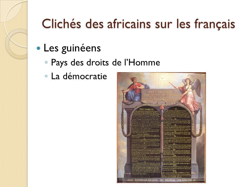 Clichés des africains sur les français