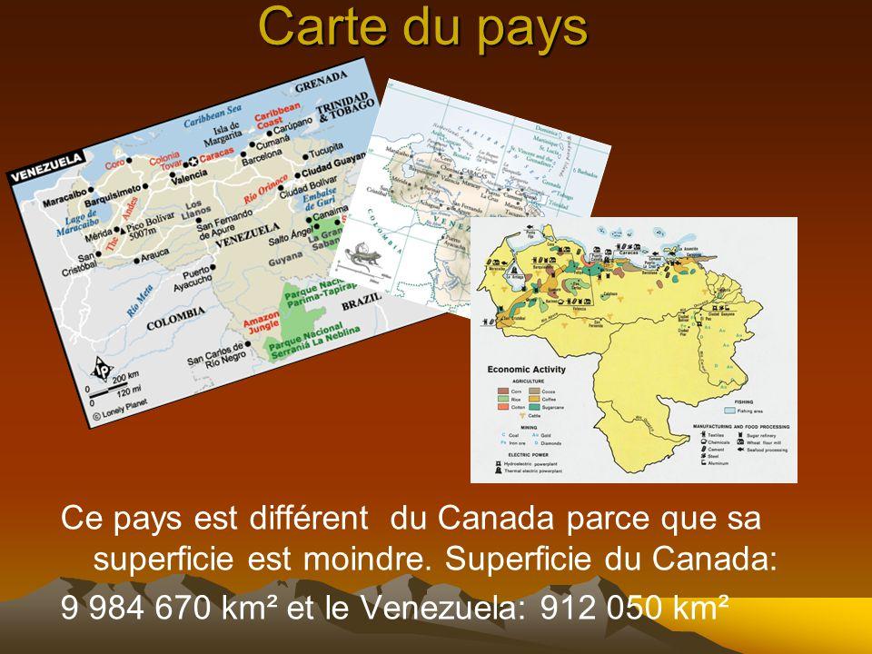 Carte du pays Ce pays est différent du Canada parce que sa superficie est moindre. Superficie du Canada: