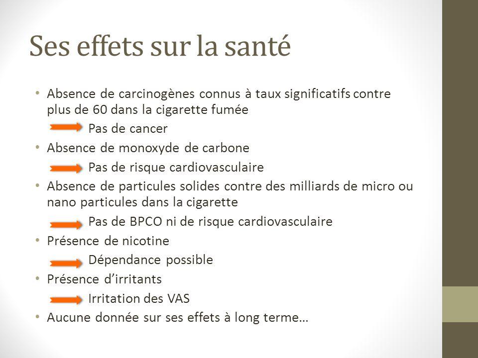 Ses effets sur la santé Absence de carcinogènes connus à taux significatifs contre plus de 60 dans la cigarette fumée.