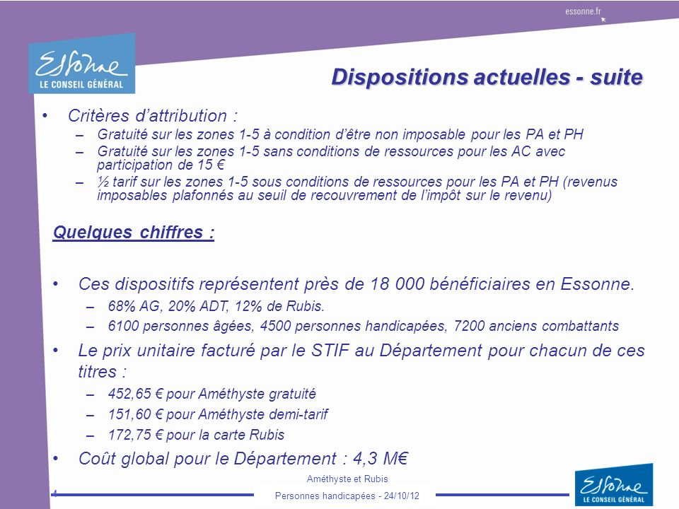 Dispositions actuelles - suite
