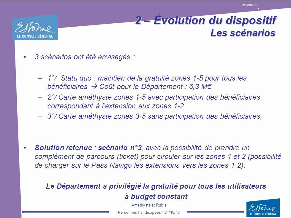 2 – Évolution du dispositif Les scénarios