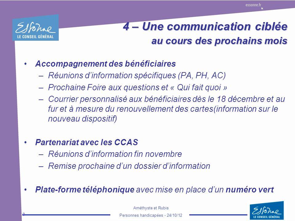 4 – Une communication ciblée au cours des prochains mois