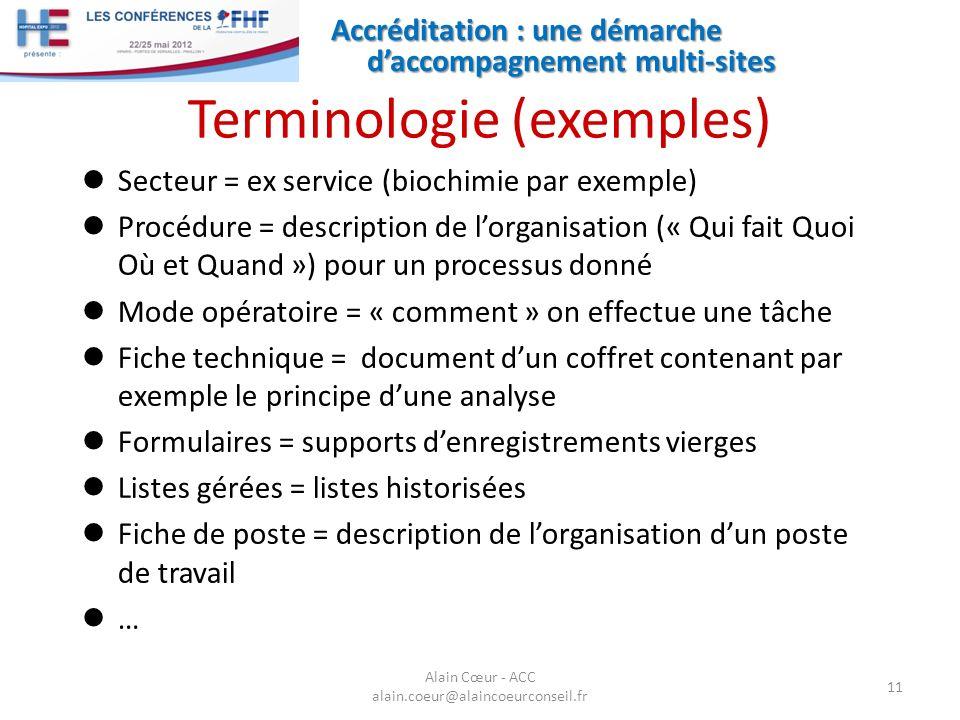 Terminologie (exemples)