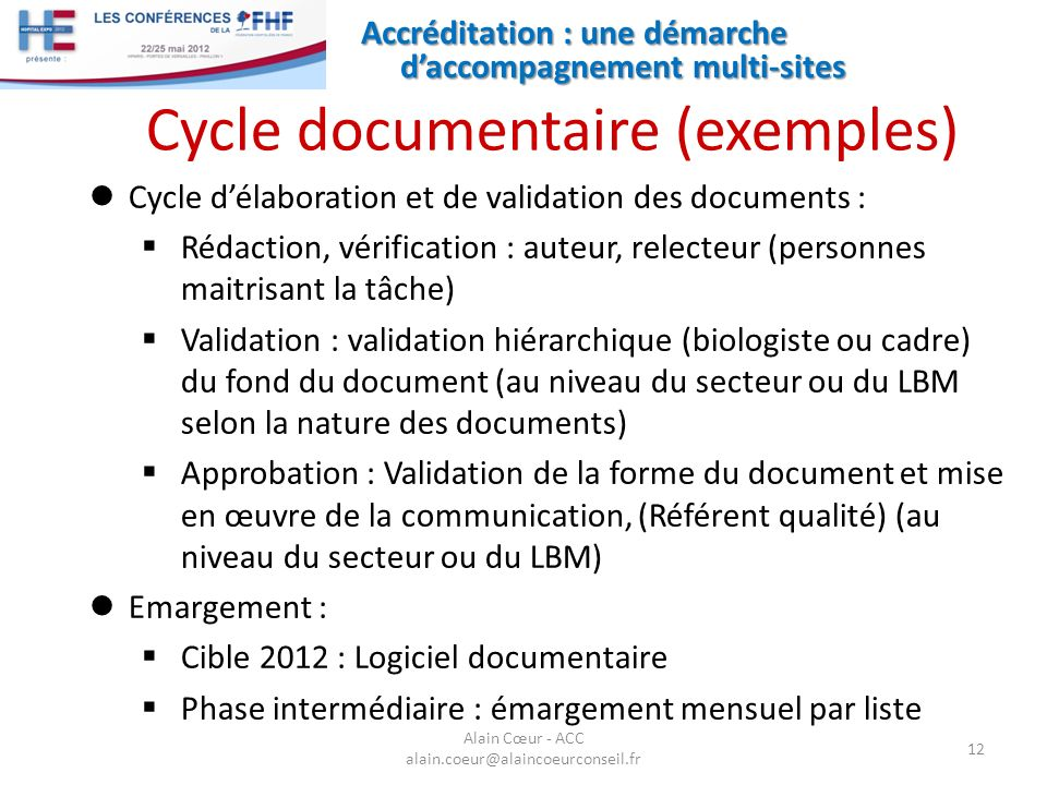 Cycle documentaire (exemples)