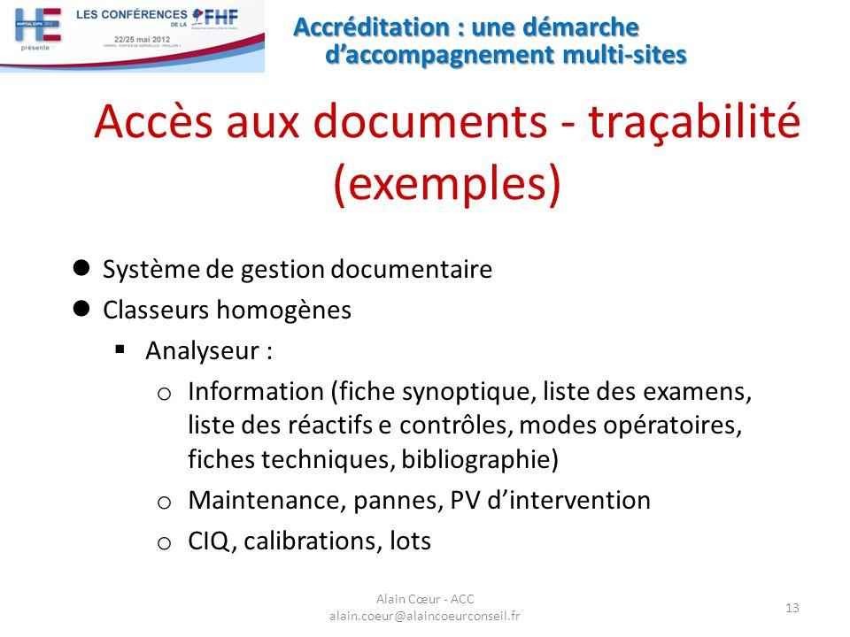 Accès aux documents - traçabilité (exemples)