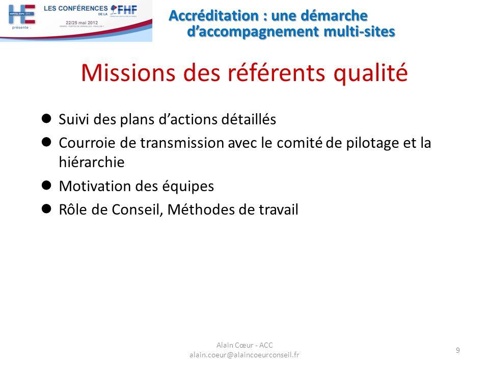 Missions des référents qualité