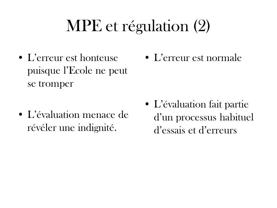 MPE et régulation (2) L'erreur est honteuse puisque l'Ecole ne peut se tromper. L'évaluation menace de révéler une indignité.