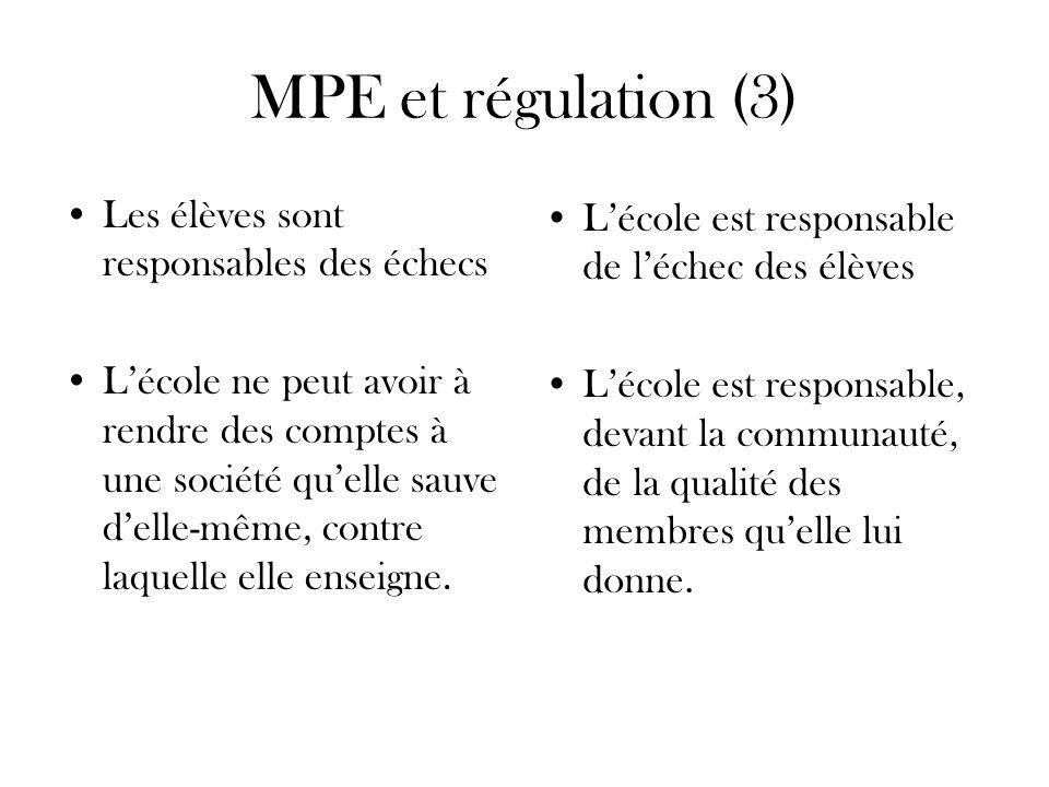 MPE et régulation (3) Les élèves sont responsables des échecs