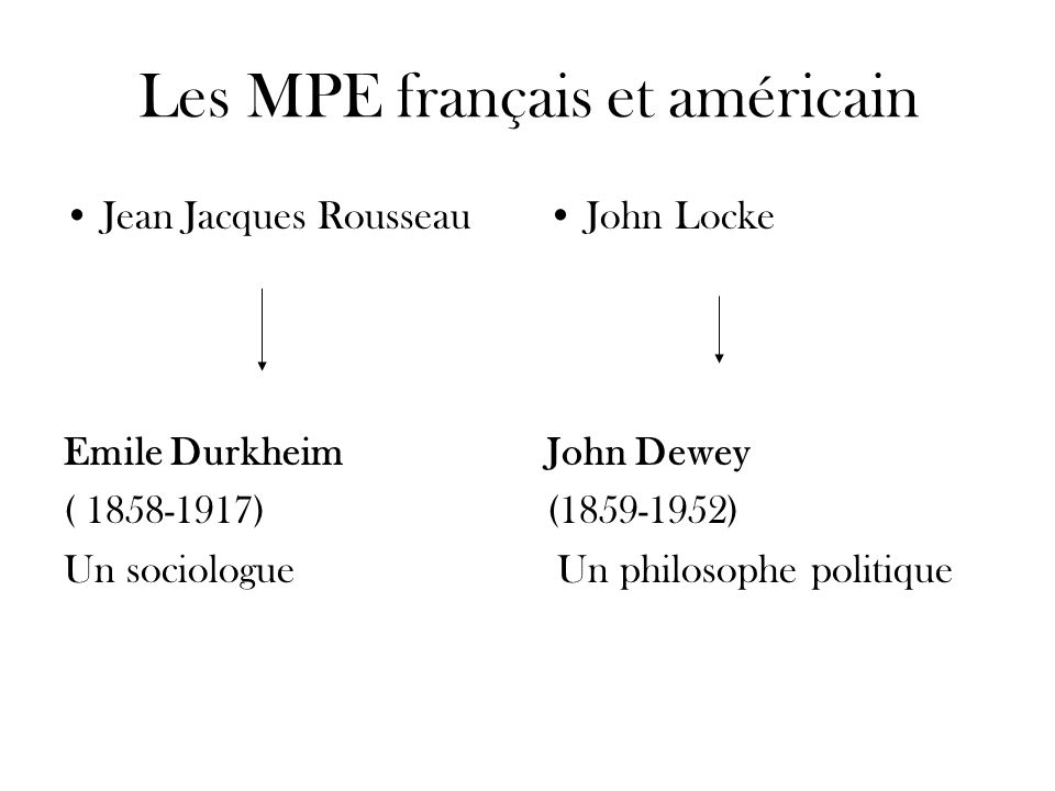 Les MPE français et américain