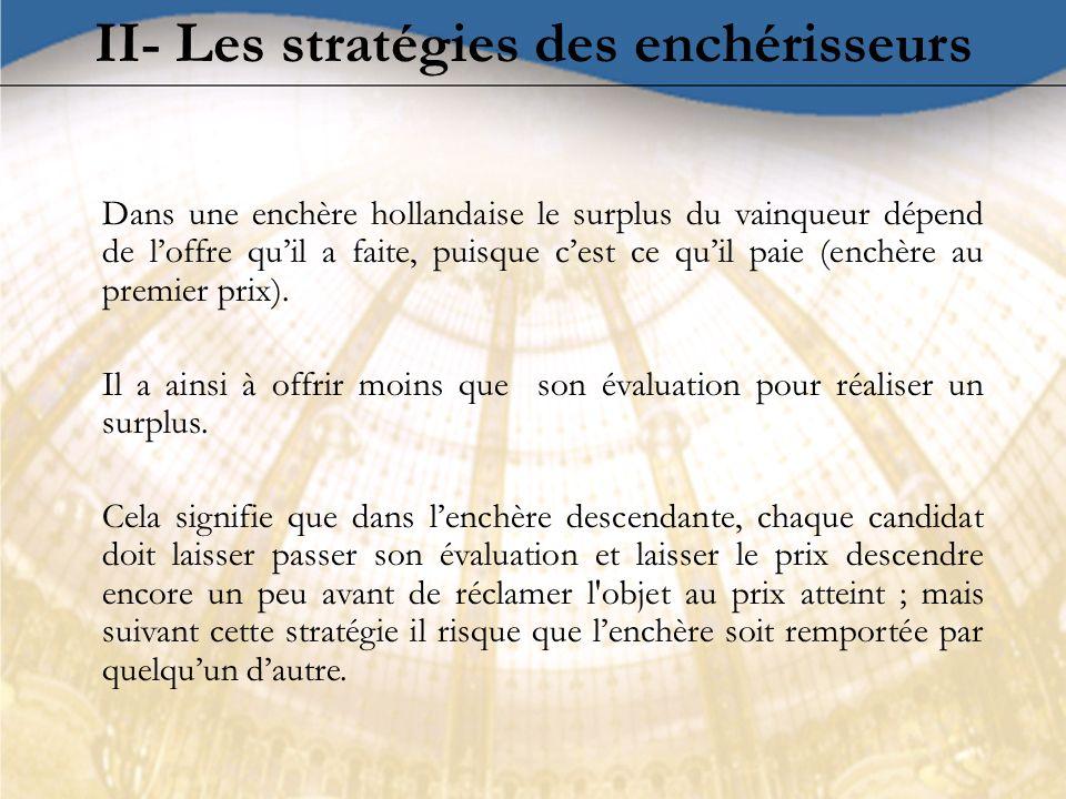 II- Les stratégies des enchérisseurs