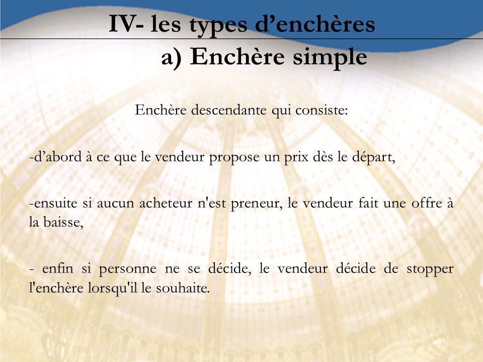 IV- les types d'enchères a) Enchère simple