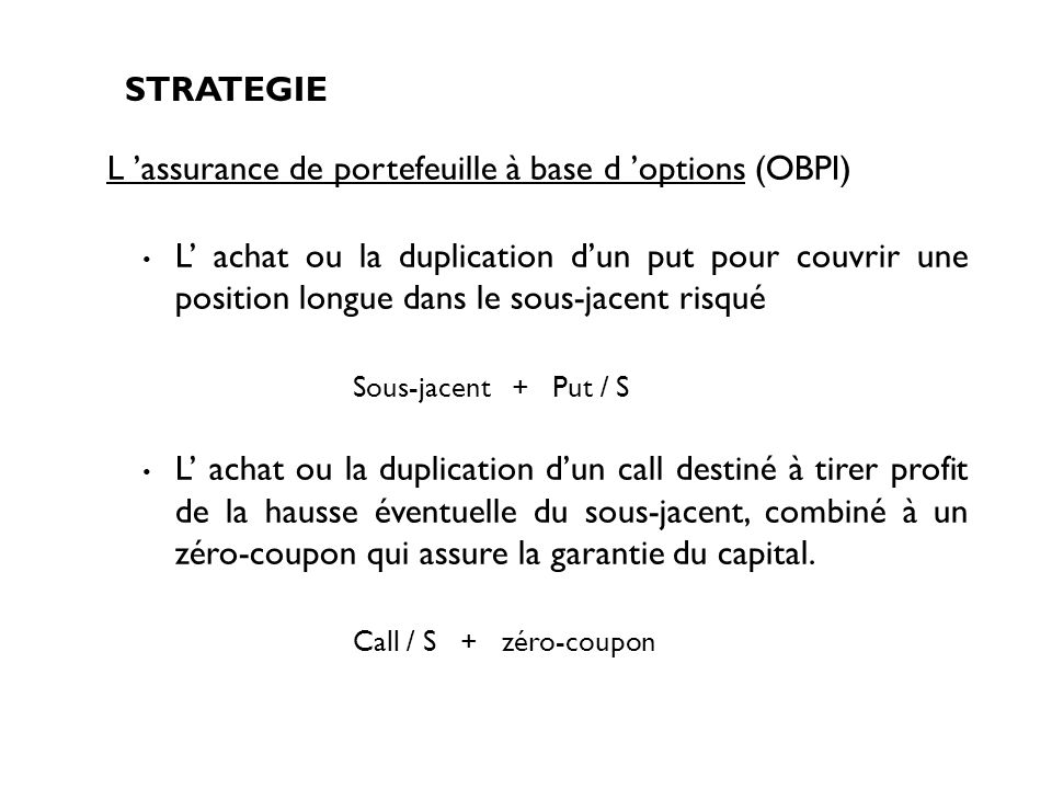 L 'assurance de portefeuille à base d 'options (OBPI)