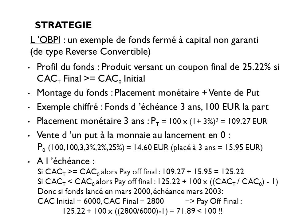 Montage du fonds : Placement monétaire + Vente de Put