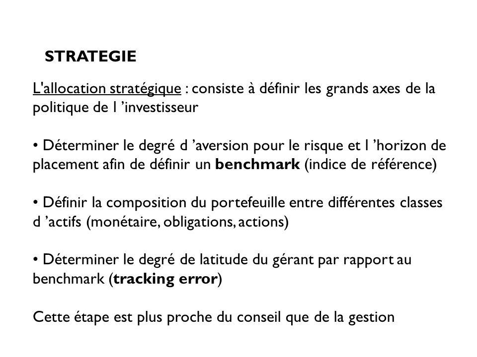 STRATEGIE L allocation stratégique : consiste à définir les grands axes de la politique de l 'investisseur.