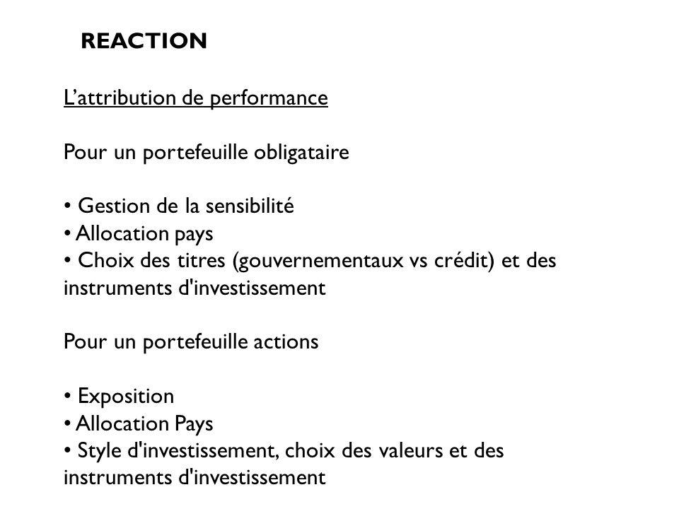 L'attribution de performance Pour un portefeuille obligataire