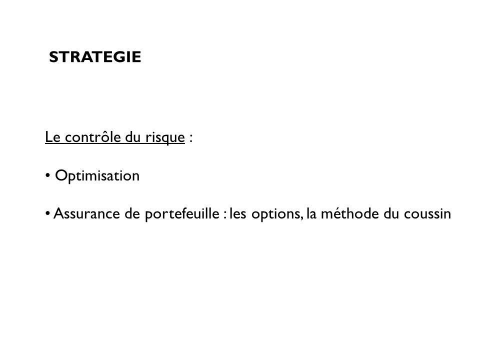 STRATEGIE Le contrôle du risque : Optimisation.