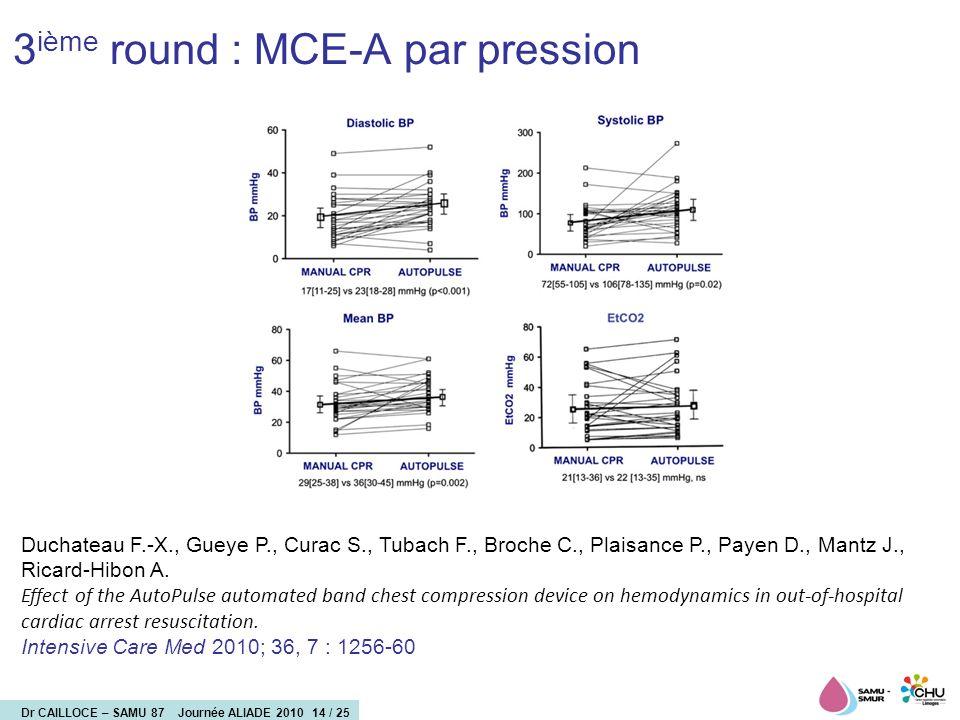 3ième round : MCE-A par pression