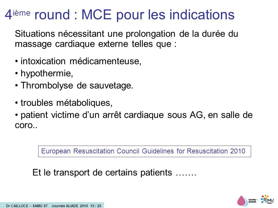 4ième round : MCE pour les indications